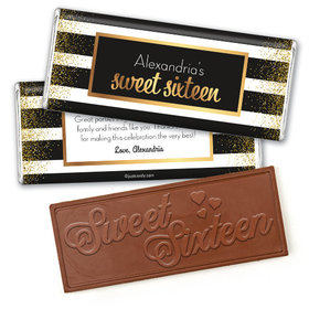 Personalized Sweet 16 Uptown Glitz Embossed Chocolate Bar & Wrapper