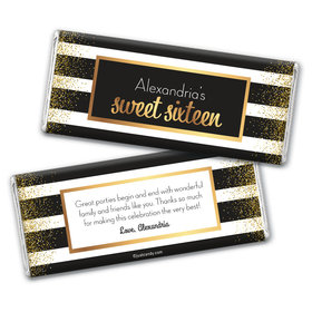 Personalized Sweet Sixteen Uptown Glitz Chocolate Bar Wrappers