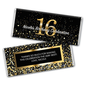 Personalized Milestone Elegant Birthday Bash 16 Chocolate Bar & Wrapper