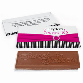 Deluxe Personalized Sweet 16 Birthday Glamour Stripes Chocolate Bar in Gift Box