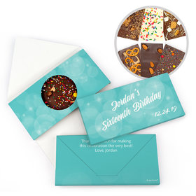 Personalized Birthday Sweet 16 Bubbles and Dots Gourmet Infused Belgian Chocolate Bars (3.5oz)