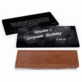 Deluxe Personalized Sweet 16 Birthday Bubbles & Dots Chocolate Bar in Gift Box