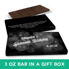 Deluxe Personalized Birthday Bubbles & Dots Belgian Chocolate Bar in Gift Box (3oz Bar)