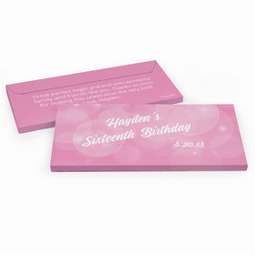 Deluxe Personalized Sweet 16 Birthday Bubbles & Dots Hershey's Chocolate Bar in Gift Box