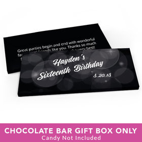 Deluxe Personalized Sweet 16 Birthday Bubbles & Dots Candy Bar Favor Box