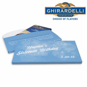 Deluxe Personalized Sweet 16 Bubble & Dots Ghirardelli Chocolate Bar in Gift Box