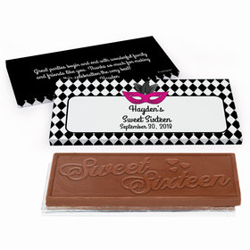 Deluxe Personalized Sweet 16 Birthday Harlequin Masquerade Chocolate Bar in Gift Box
