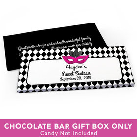 Deluxe Personalized Sweet 16 Birthday Harlequin Masquerade Candy Bar Favor Box