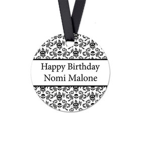 Personalized Round Floral Sweet 16 Birthday Favor Gift Tags (20 Pack)