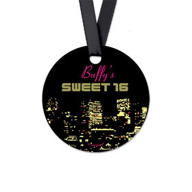 Personalized Round City Lights Birthday Favor Gift Tags (20 Pack)