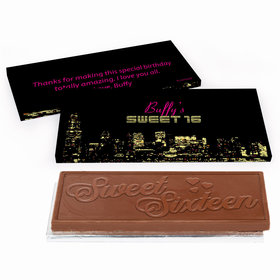 Deluxe Personalized Sweet 16 Birthday City Lights Chocolate Bar in Gift Box