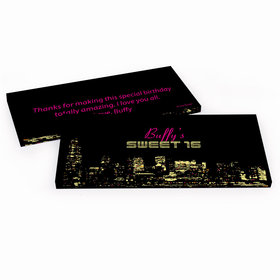 Deluxe Personalized Sweet 16 Birthday City Lights Hershey's Chocolate Bar in Gift Box