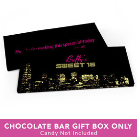 Deluxe Personalized Sweet 16 Birthday City Lights Candy Bar Favor Box