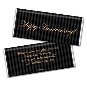 Employee Anniversary Personalized Chocolate Bar Formal Gold and Pinstripes