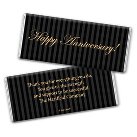 Employee Anniversary Personalized Chocolate Bar Wrappers Formal Gold and Pinstripes