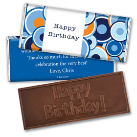 Employee Appreciation Personalized Embossed Happy Birthday Chocolate Bar Circle Dots Administrative Professionals Day