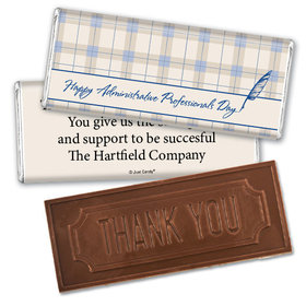 Employee Appreciation Embossed Thank You Chocolate Bar Plaid Administrative Professionals Day