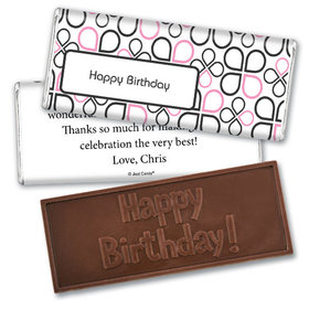 Birthday Personalized Embossed Happy Birthday Chocolate Bar Infinity Clover Pattern