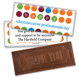 Personalized Administrative Professionals Day Colorful Dots Embossed Thank You Chocolate Bar