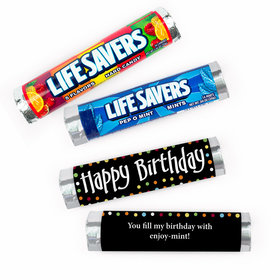 Personalized Birthday Polka Dots Lifesavers Rolls (20 Rolls)