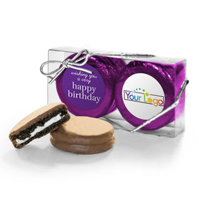 Personalized Add Your Logo Happy Birthday 2Pk Chocolate Covered Oreo Cookies