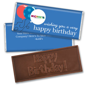Personalized Birthday Add Your Logo Balloons Embossed Chocolate Bar & Wrapper