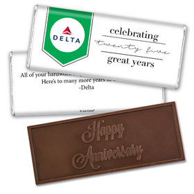 Personalized Corporate Anniversary Add Your Logo Celebration Embossed Chocolate Bar & Wrapper