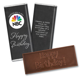 Personalized Birthday Add Your Logo Script Embossed Chocolate Bar & Wrapper