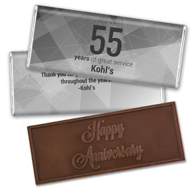 Personalized Corporate Anniversary Geometric Embossed Chocolate Bar & Wrapper