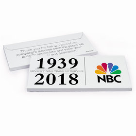 Deluxe Personalized Corporate Anniversary Span of Years Chocolate Bar in Gift Box