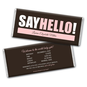 Personalized Say Hello! Baby Girl Birth Announcement Hershey's Chocolate Bar & Wrapper