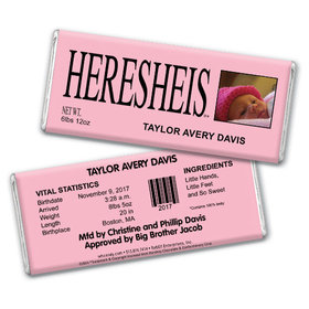 "Baby Girl Announcement Personalized Chocolate Bar HERESHEIS ""Here She Is"" Pink Photo"