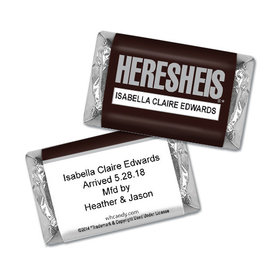 "Baby Girl Announcement Personalized Hershey's Miniatures HERESHEIS ""Here She Is"""