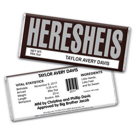 """Baby Girl Announcement Personalized Chocolate Bar HERESHEIS """"Here She Is"""""""