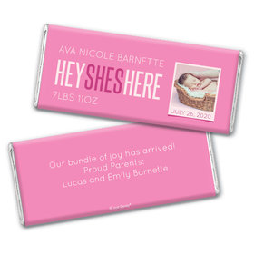 Personalized She's Here! Baby Girl Birth Announcement Hershey's Chocolate Bar Wrappers