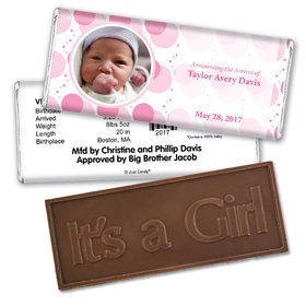Baby Girl Announcement Personalized Embossed Chocolate Bar Monogram Polka Dot Photo
