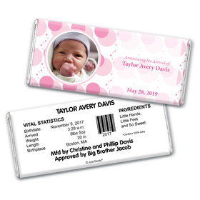 Baby Girl Announcement Personalized Chocolate Bar Wrappers Monogram Polka Dot Photo
