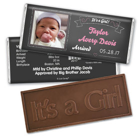 Baby Girl Announcement Personalized Embossed Chocolate Bar Chalkboard Photo