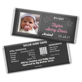 Baby Girl Announcement Personalized Chocolate Bar Wrappers Chalkboard Photo