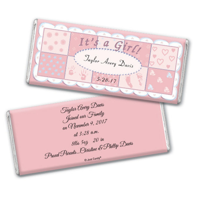 baby girl announcement personalized chocolate bar it s a girl quilt