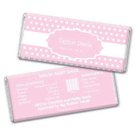 Baby Girl Announcement Personalized Chocolate Bar Tiny Dots