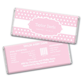 Baby Girl Announcement Personalized Chocolate Bar Wrappers Tiny Dots