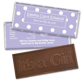 Baby Girl Announcement Personalized Embossed Chocolate Bar Polka Dots