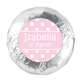 "Baby Girl Announcement 1.25"" Sticker Polka Dots (48 Stickers)"