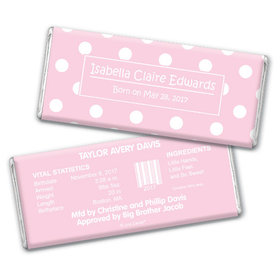 Baby Girl Announcement Personalized Chocolate Bar Polka Dots