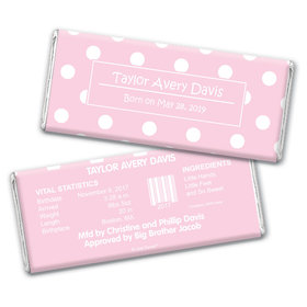 Baby Girl Announcement Personalized Chocolate Bar Wrappers Polka Dots