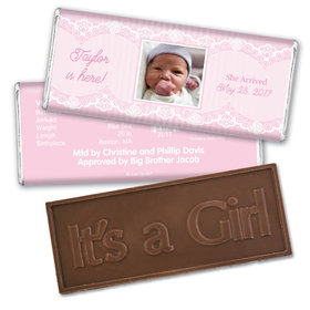 Baby Girl Announcement Personalized Embossed Chocolate Bar Pinstripes and Lace Photo