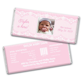 Baby Girl Announcement Personalized Chocolate Bar Wrappers Pinstripes and Lace Photo