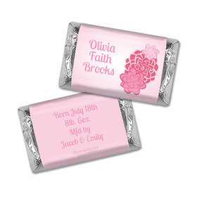 Baby Girl Announcement Personalized Hershey's Miniatures Wrappers Pink Flowers