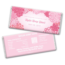 Baby Girl Announcement Personalized Chocolate Bar Pink Flowers
